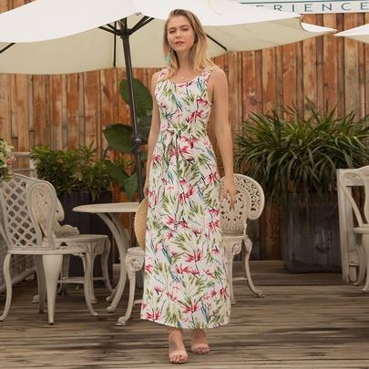 Print Sleeveless Round Neck Long Dress  NSSA48708
