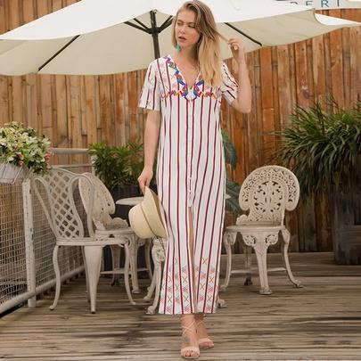 Button Short-sleeved V-neck Striped Long Dress NSSA48709