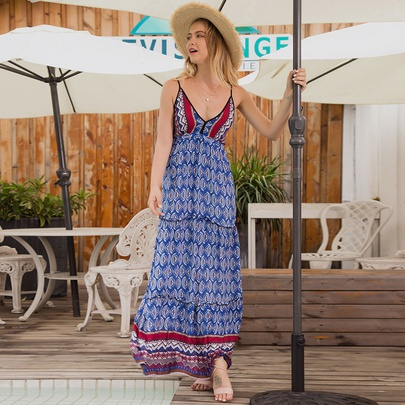 Sling Strapless Sleeveless V-neck Long Dress  NSSA48710