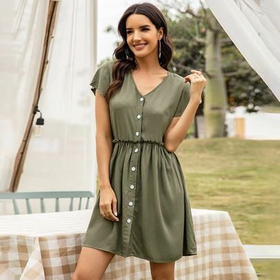 V-neck Single-breasted Short-sleeved Dress  NSSA48720
