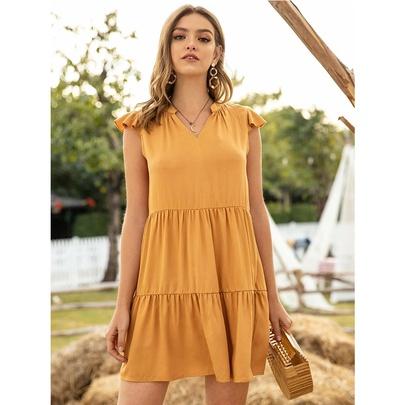 Stitching Sleeveless Ruffled Folds Dress  NSSA48721