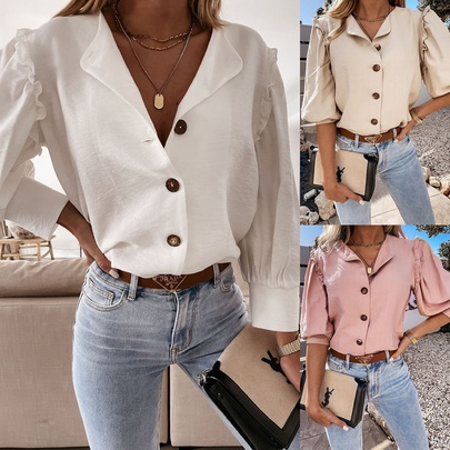 Lapel Fashion Button Solid Color Shirt  NSYD48735