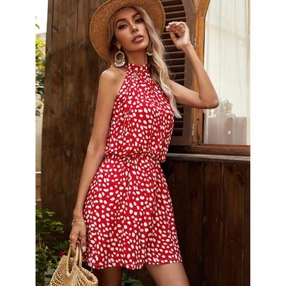 Rayon Printed Halterneck Bohemian Dress  NSYD48736