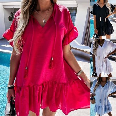 V-neck Short-sleeved Drape Folds Dress  NSYD48738