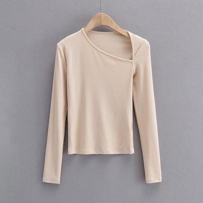 Irregular Collar Long-sleeved Shirt NSAC48744