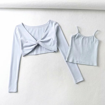 Long-sleeved Twisted Top & Cami Top Set NSAC48748
