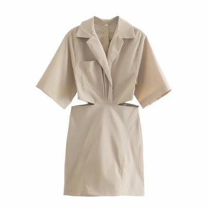 Hollow Waist Short-sleeved Suit Collar Dress NSAC48751