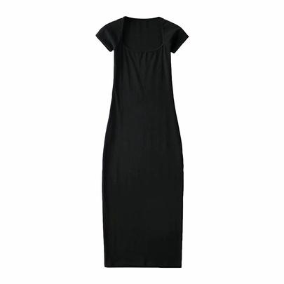 Square Neck High Split Sexy Dress NSAC48753
