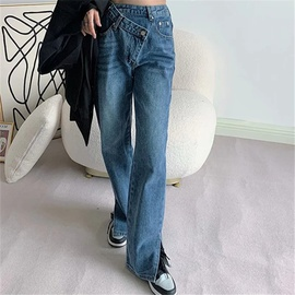 Irregular Waist Diagonal Button Split Jeans  NSAC48765