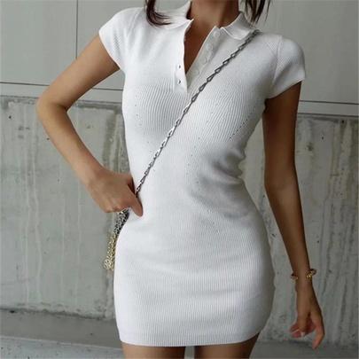 Polo Collar Hollow Knit Short-sleeved Dress NSAC48768
