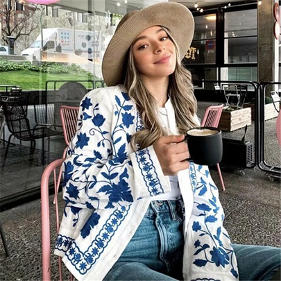 Blue And White Porcelain Embroidered Jacket NSAC48770