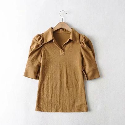 Lantern Sleeve Solid POLO Shirt NSAC48774