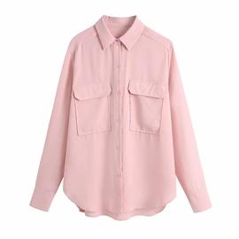 Pocket Draped Solid Color Shirt NSAM48881