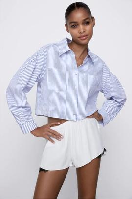 Solid Color Long-sleeve Short Shirt NSAM48882