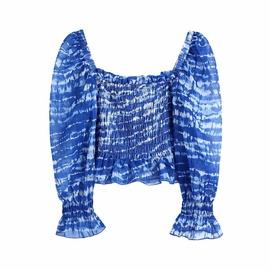 Tie-dye Square Collar Short Tops NSAM48884