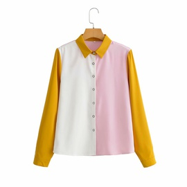 Contrast Color Stitching Long-sleeved Lapel Shirt  NSAM48886
