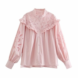 Lace Collar Hollow Embroidery Blouse  NSAM48894
