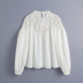 Mesh Embroidery Stitching Blouse  NSAM48900