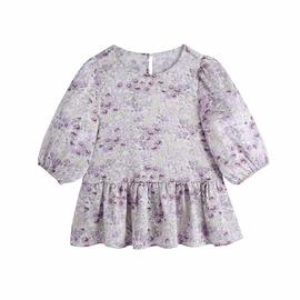 Printed Skirt Hem Short-sleeved Top  NSAM48907