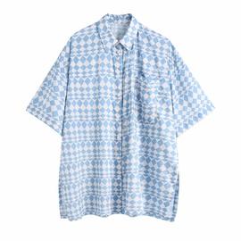 Geometric Pattern Printing Silk Texture Shirt  NSAM48914