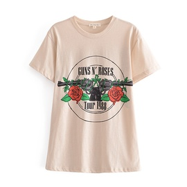 Rose Print Round Neck T-shirt NSAM48915