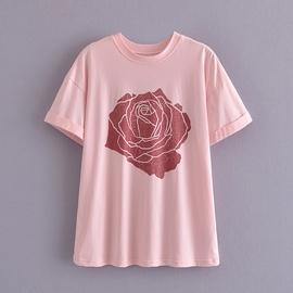 Rose Print Slim Loose Tee NSAM48917
