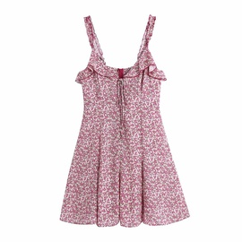 Laminated Decoration Printing Suspender Dress  NSAM48920