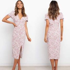 V-neck Short-sleeved Printed Split Dress NSYD48943