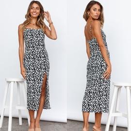 Sexy Backless Straps Printing Split Dress  NSYD48945