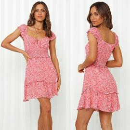 Square Neck Short-sleeved Printed Folds Dress NSYD48947