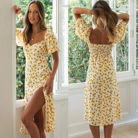 Square Neck Side Slit Printed Dress  NSYD48949