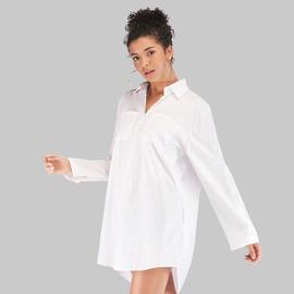 Plus Size White Lapel Long-sleeved Mid-length Blouse NSJR48954