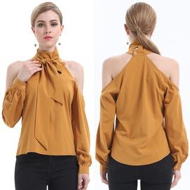 Strapless High Neck Long Sleeve Shirt  NSJR48956