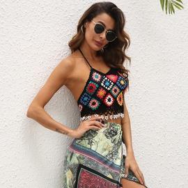 Floral Knit Halter Top NSOY48982