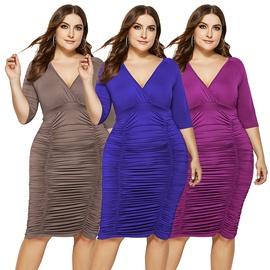 Deep-V Elastic Folds Large Size Solid Color Dress NSLM49057