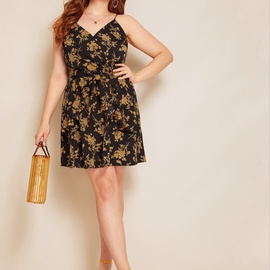 Printing Loose Large Size Sling Dress  NSCX49068