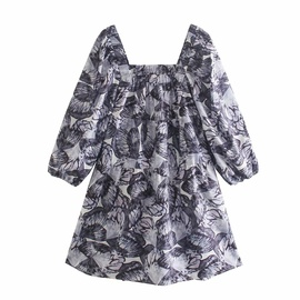 Printed Puff Sleeve Square Neck Dress  NSAM48905