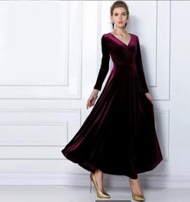 V-neck Long-sleeved Gold Velvet Long Dress  NSYF47038