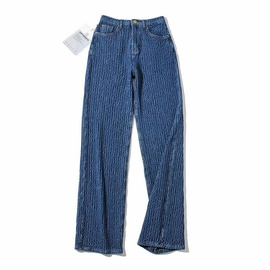 Retro High Waist Woven Straight Leg Jeans  NSAM49133