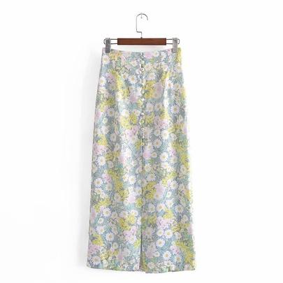 Spring Flowers Printed Midi Skirt  NSAM49134
