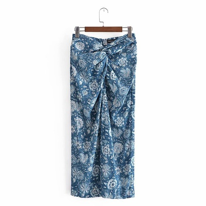 Spring Texture Knotted Midi Skirt  NSAM49170