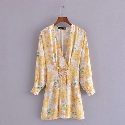 Spring Flower Print Dress NSAM49396