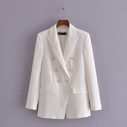 Golden Double Button White Blazer NSAM49399