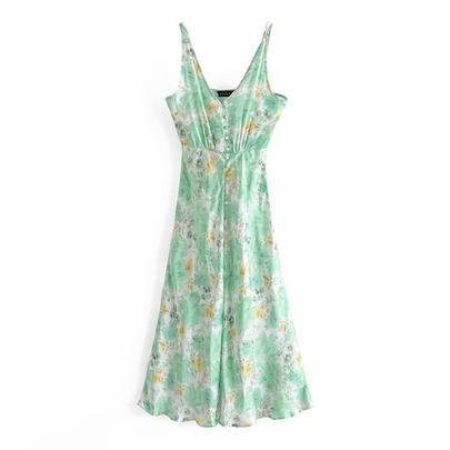 Spring Flower Print Suspender Dress NSAM49400