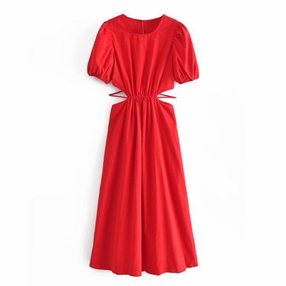 Spring Hollow Poplin Dress NSAM49401