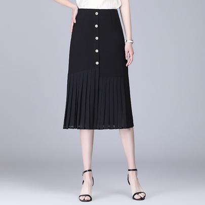 Simple Single-breasted High Waist Skirt  NSYZ49405
