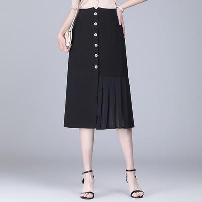 High-waist Draped Casual Folds Skirt NSYZ49409