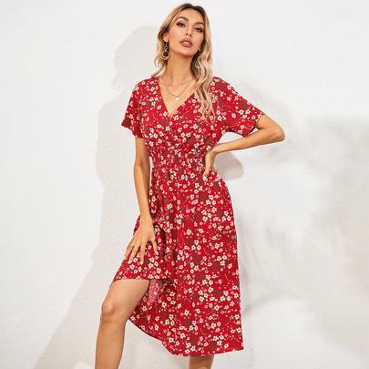 Summer New  V-neck Floral Dress  NSYD49499