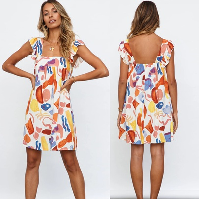 Summer New Printed Sexy Backless Dress  NSYD49501