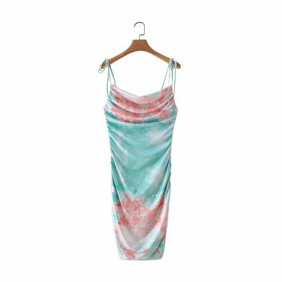 Spring Tie-dye Drawstring Suspender Dress NSAM49505